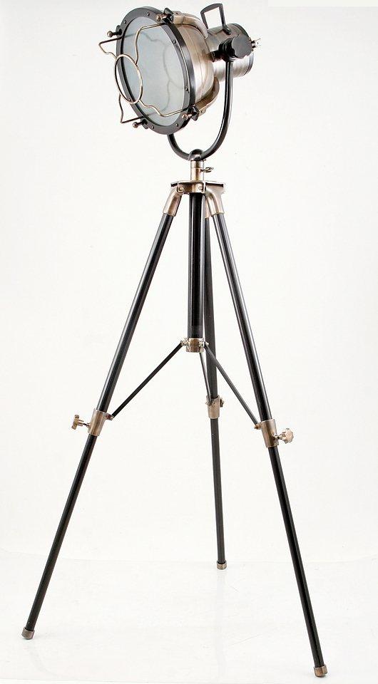 Sit Standstrahler 1 flammig, ohne Leuchtmittel in Aluminium Bronze-Finish Strukturglas, Gestell schwarz
