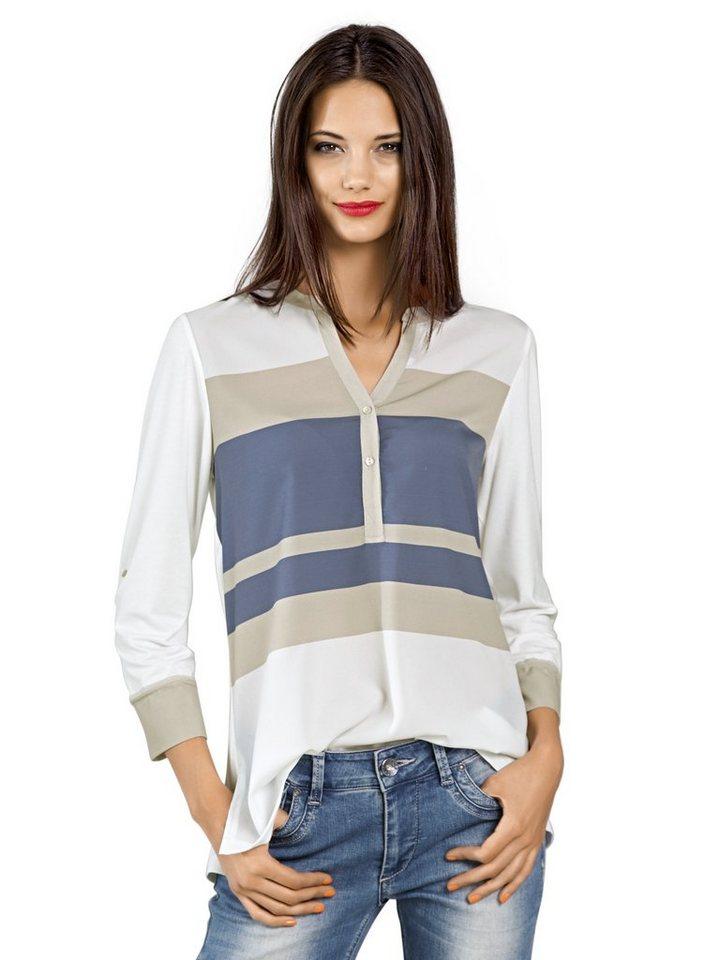 Bluse in weiß/bleu