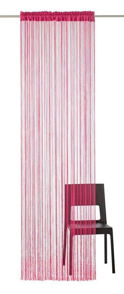Fadenvorhang, my home, »Fao-Uni«, mit Smokband und Stangendurchzug in pink
