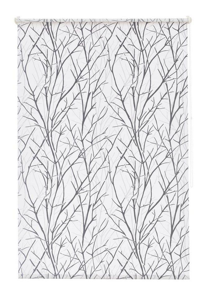 Seitenzugrollo, my home, »Gila«Lichtschutz, Fixmaß, ohne Bohren in weiß-schwarz