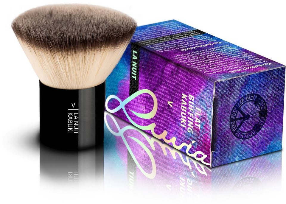 Luvia Cosmetics, »La Nuit - V Flat Buffing Kabuki«, Veganer und dichter Kabuki Kosmetikpinsel in Schwarz
