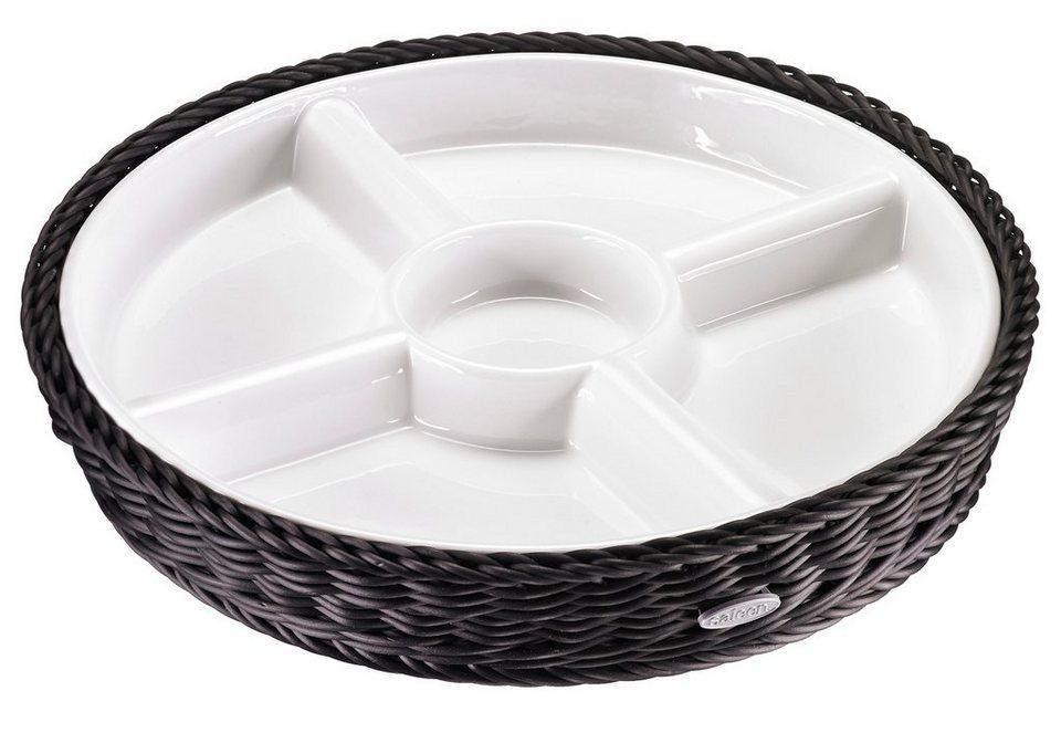 Saleen Menüteller, Porzellan, rund in Schale weiß/Korb schwarz