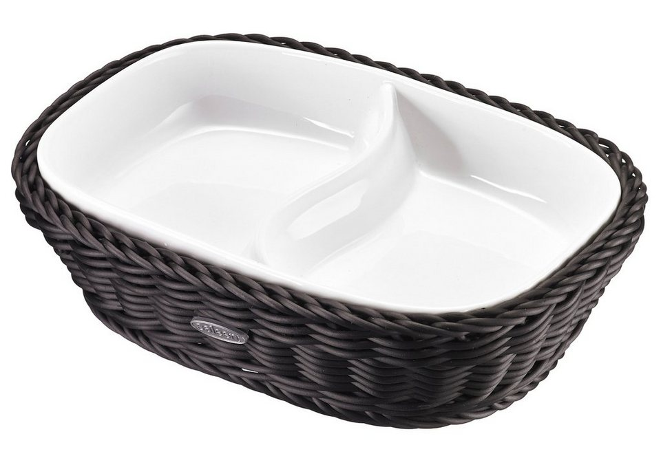 Saleen Schale, Porzellan, rechteckig in Schale weiß/Korb schwarz