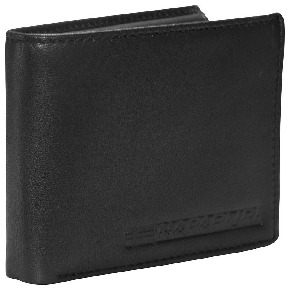 Napapijri Formal Billfold 10 Geldbörse Leder 12,5 cm in black