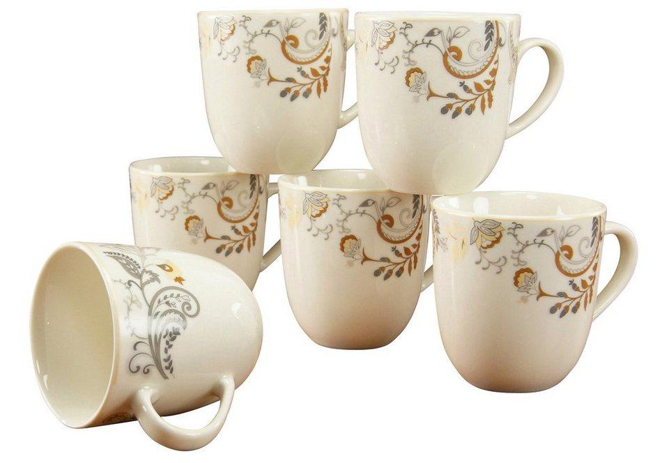 CreaTable Kaffeebecher, Premiumporzellan, »Palacio« in Mit pastelligem Bänderdekor