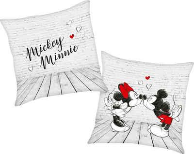 Walt Disney Dekokissen »Mickey Mouse und Minnie Mouse«, mit niedlichem Motiv und Schriftzug
