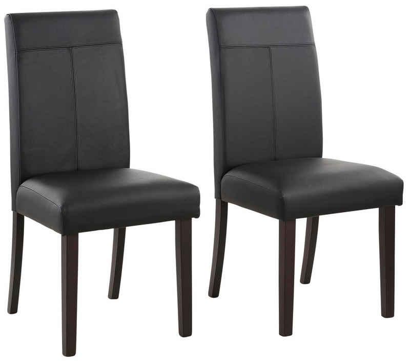 Home affaire 4-Fußstuhl »Rubin« (Set, 2 Stück), Im 2er, 4er oder 6er-Set, mit honigfarbenen oder dunkelbraunen Beinen