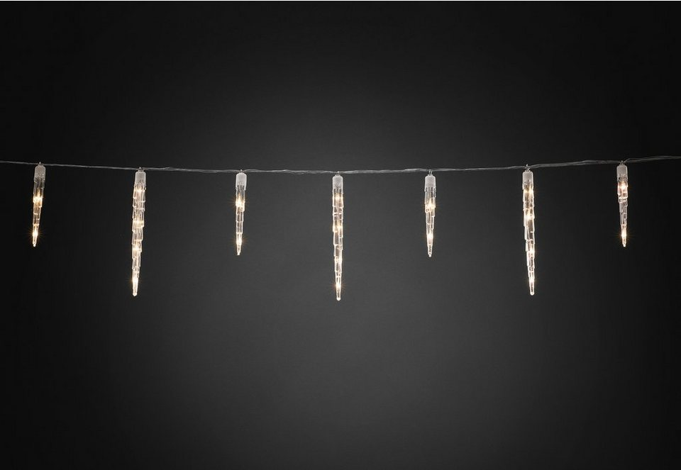 Konstsmide LED Eiszapfen Lichtervorhang in weiß, transparent