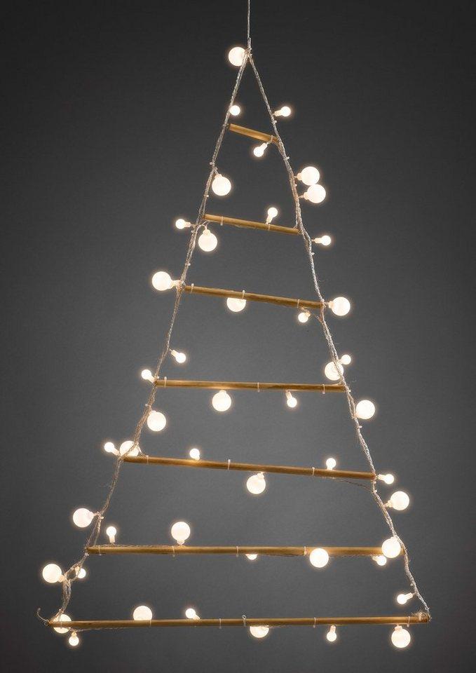 Konstsmide LED Holzpyramide in weiß/braun