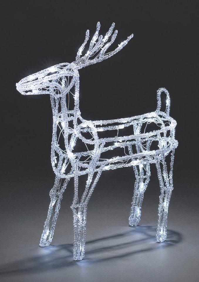 Konstsmide LED Acryl Rentier in weiß/transparent