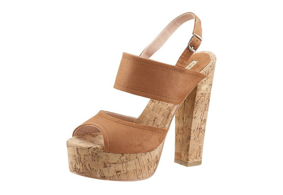 Buffalo High Heel Sandalette in Kork-Optik in braun
