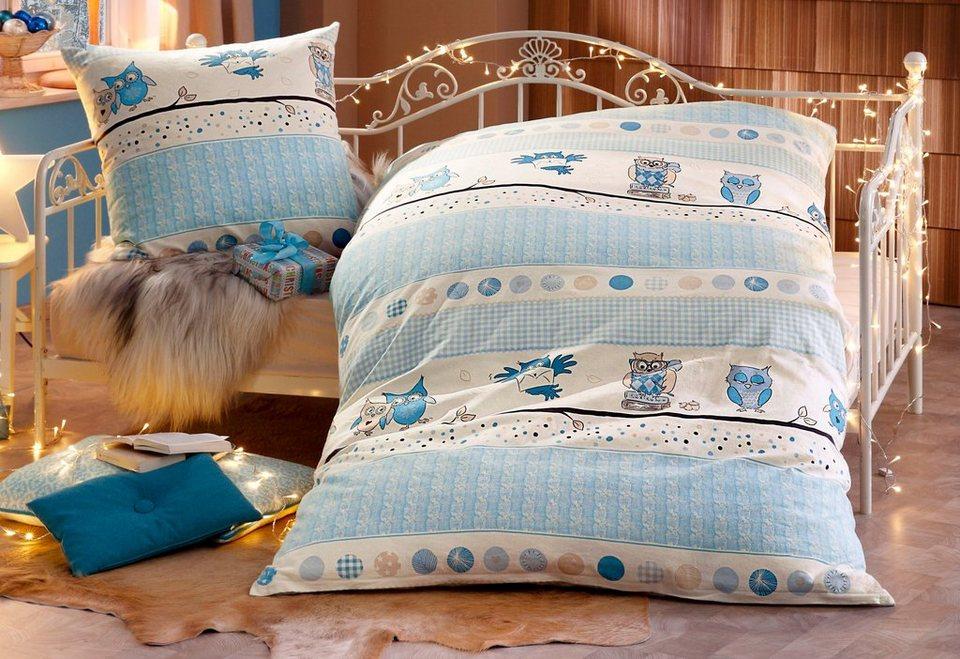 Bettwäsche, SisterS, »Hedwig«, mit Eulen bedruckt in bleu