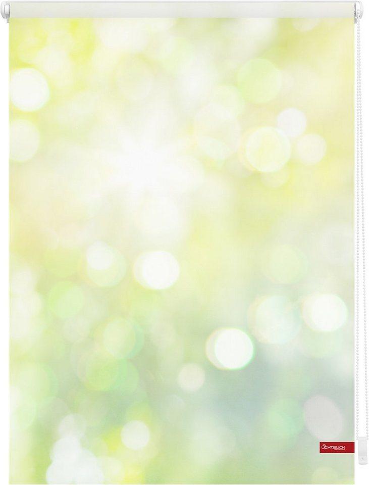 Seitenzugrollo, Lichtblick, »Klemmfix Dekor Lichtspiel«, Lichtschutz, Fixmaß, ohne Bohren in grün gelb