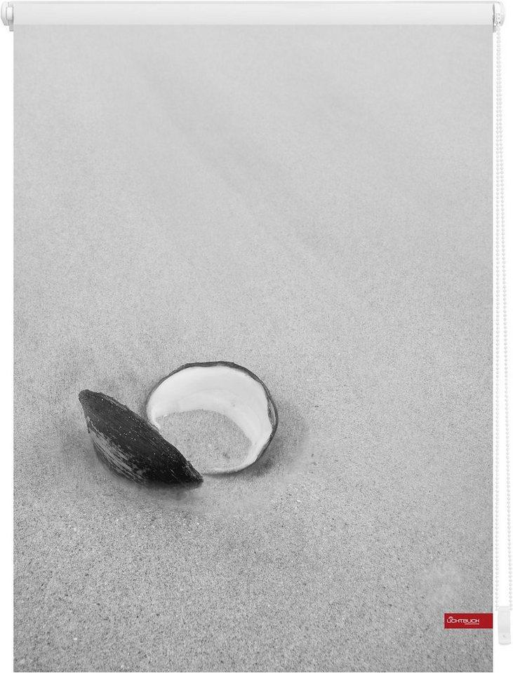 Seitenzugrollo, Lichtblick, »Klemmfix Dekor Muschel«, Lichtschutz, Fixmaß, ohne Bohren in schwarz weiß
