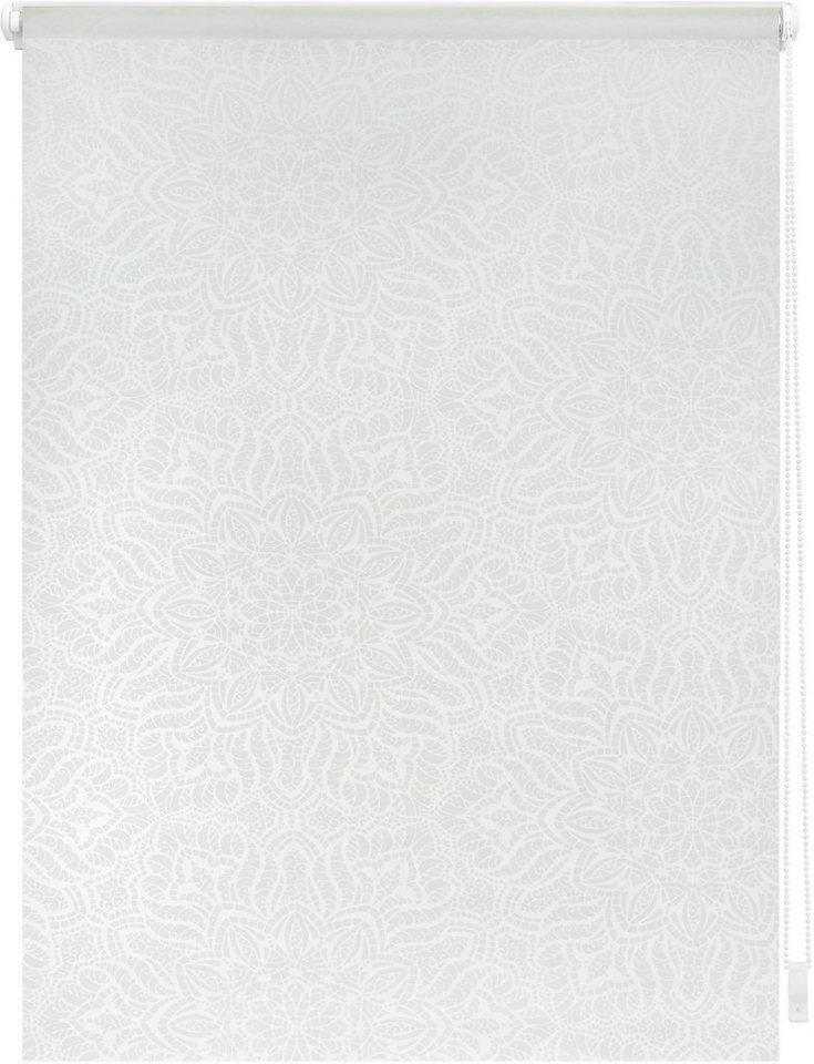 Seitenzugrollo, Lichtblick, »Klemmfix Dekor Henna«, Lichtschutz, Fixmaß, ohne Bohren in weiß