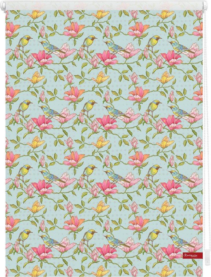Seitenzugrollo, Lichtblick, »Klemmfix Dekor Birds«, Lichtschutz, Fixmaß, ohne Bohren in grün pink