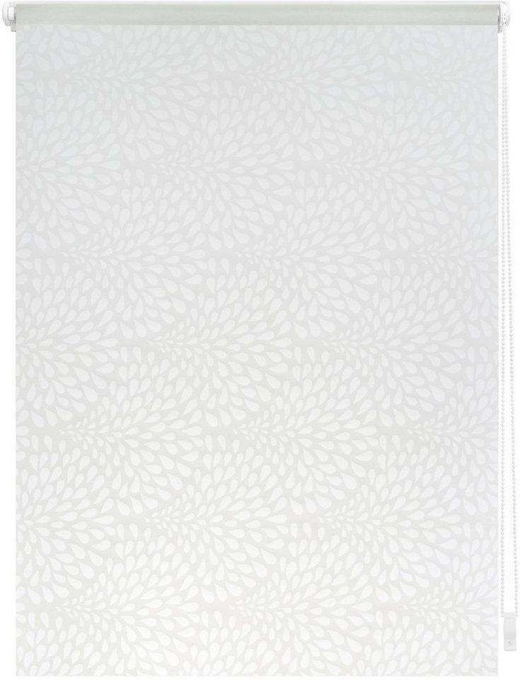 Seitenzugrollo, Lichtblick, »Klemmfix Dekor Drops«, Lichtschutz, Fixmaß, ohne Bohren in weiß