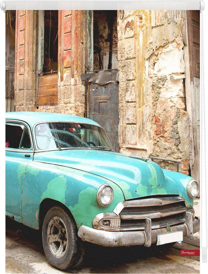 Seitenzugrollo, Lichtblick, »Klemmfix Dekor Kuba«, Lichtschutz, Fixmaß, ohne Bohren in türkis braun