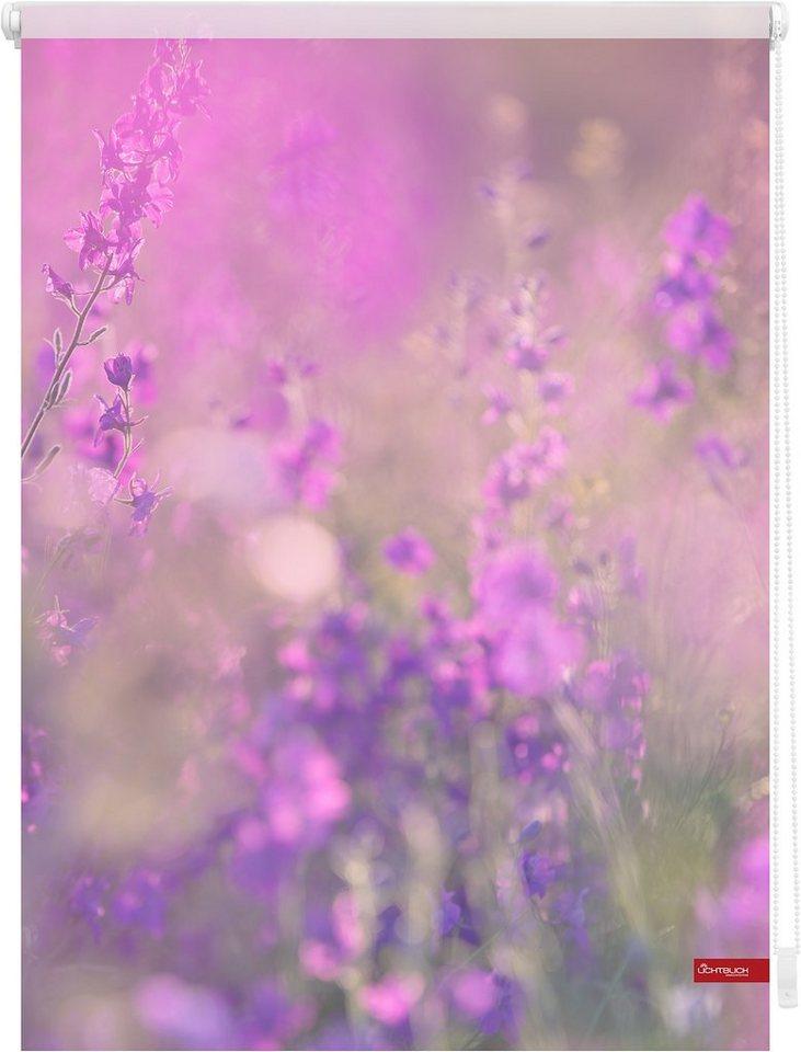 Seitenzugrollo, Lichtblick, »Klemmfix Dekor Blumenwiese«, Lichtschutz, Fixmaß, ohne Bohren in violett