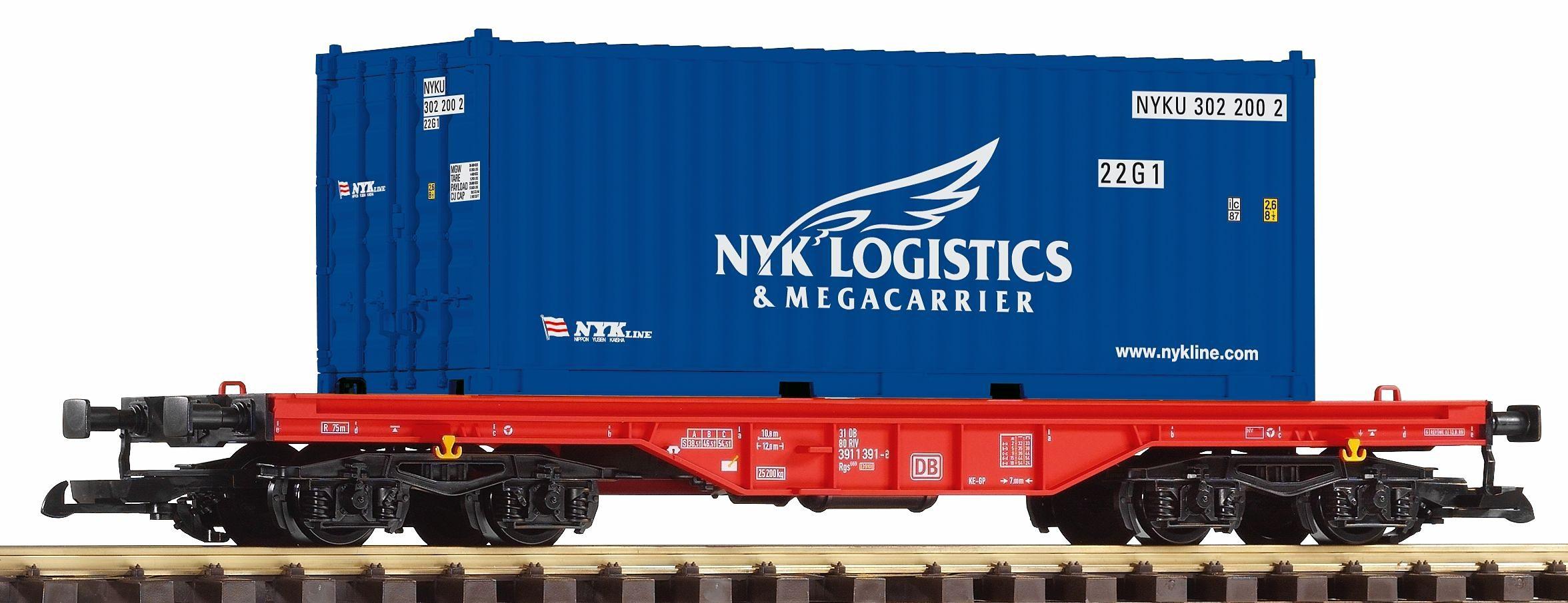 PIKO Güterwagen, Spur G, »Flachwagen mit Container NYK, DB AG - Gleichstrom«