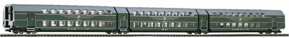 PIKO Wagenset, Spur H0, »Doppelstock-Gliederzug DGB26, 3tlg. DR - Gleichstrom« in grün
