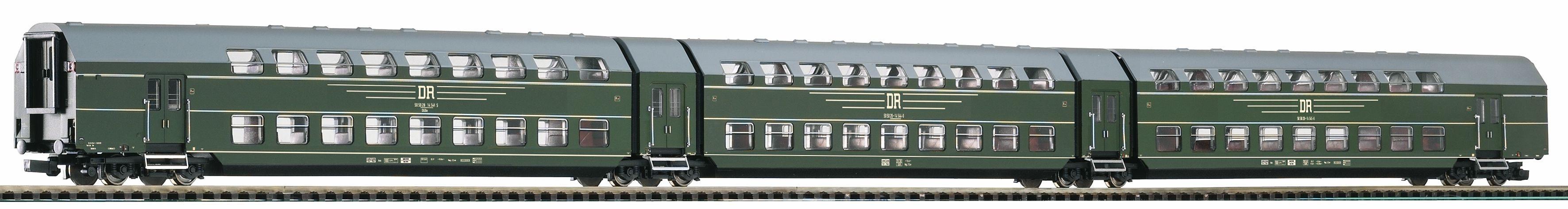 PIKO Wagenset, Spur H0, »Doppelstock-Gliederzug DGB26, 3tlg. DR - Gleichstrom«