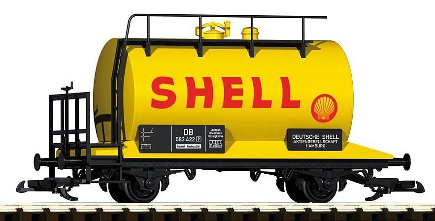 PIKO Güterwagen, Spur G, »Kesselwagen Shell mit Bremserbühne, DB - Gleichstrom« in gelb