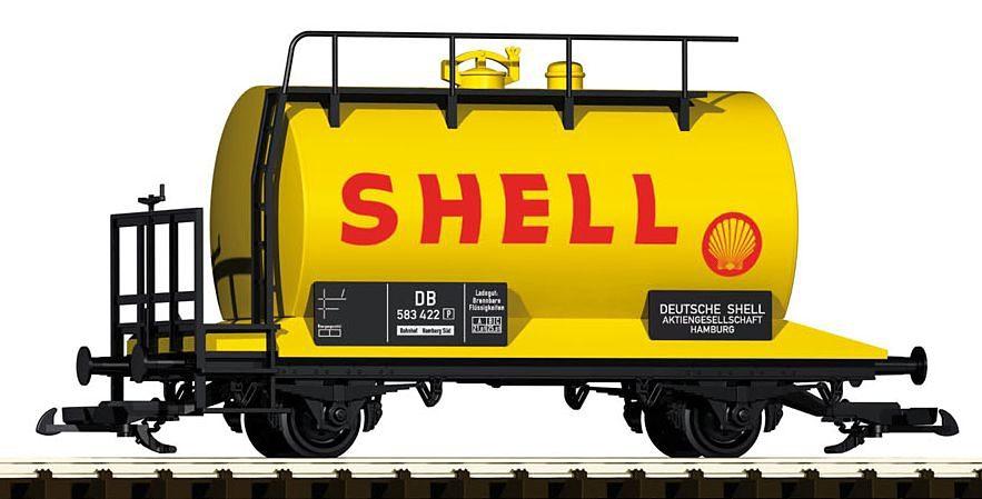 PIKO Güterwagen, Spur G, »Kesselwagen Shell mit Bremserbühne, DB - Gleichstrom«
