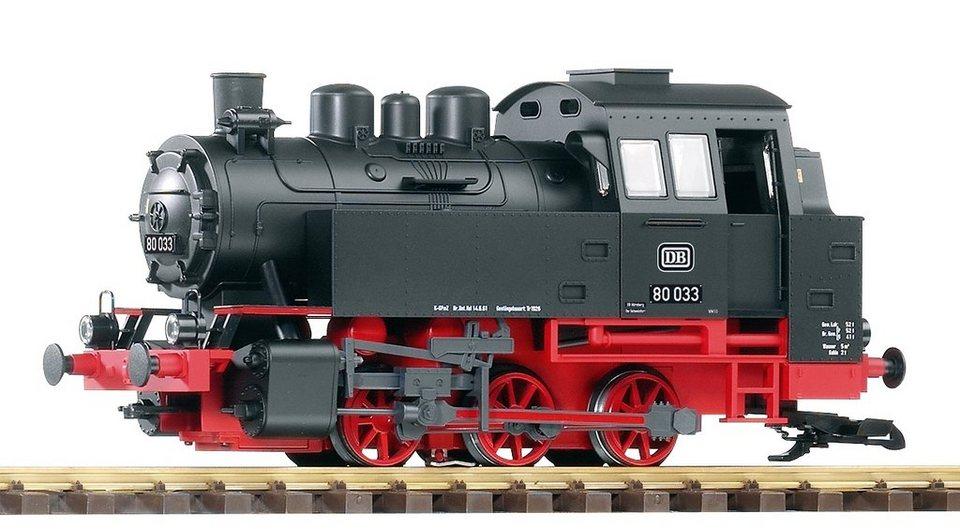 PIKO Dampflokomotive mit Dampf, Spur G, »Dampflok BR 80, DB - Gleichstrom« in schwarz