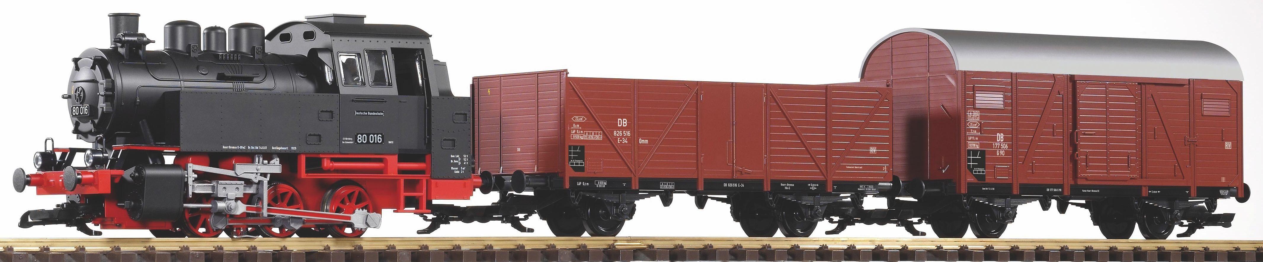 PIKO Modelleisenbahn »Startset Dampflok BR 80 und 2 Güterwagen, DB - Gleichstrom«, Spur G