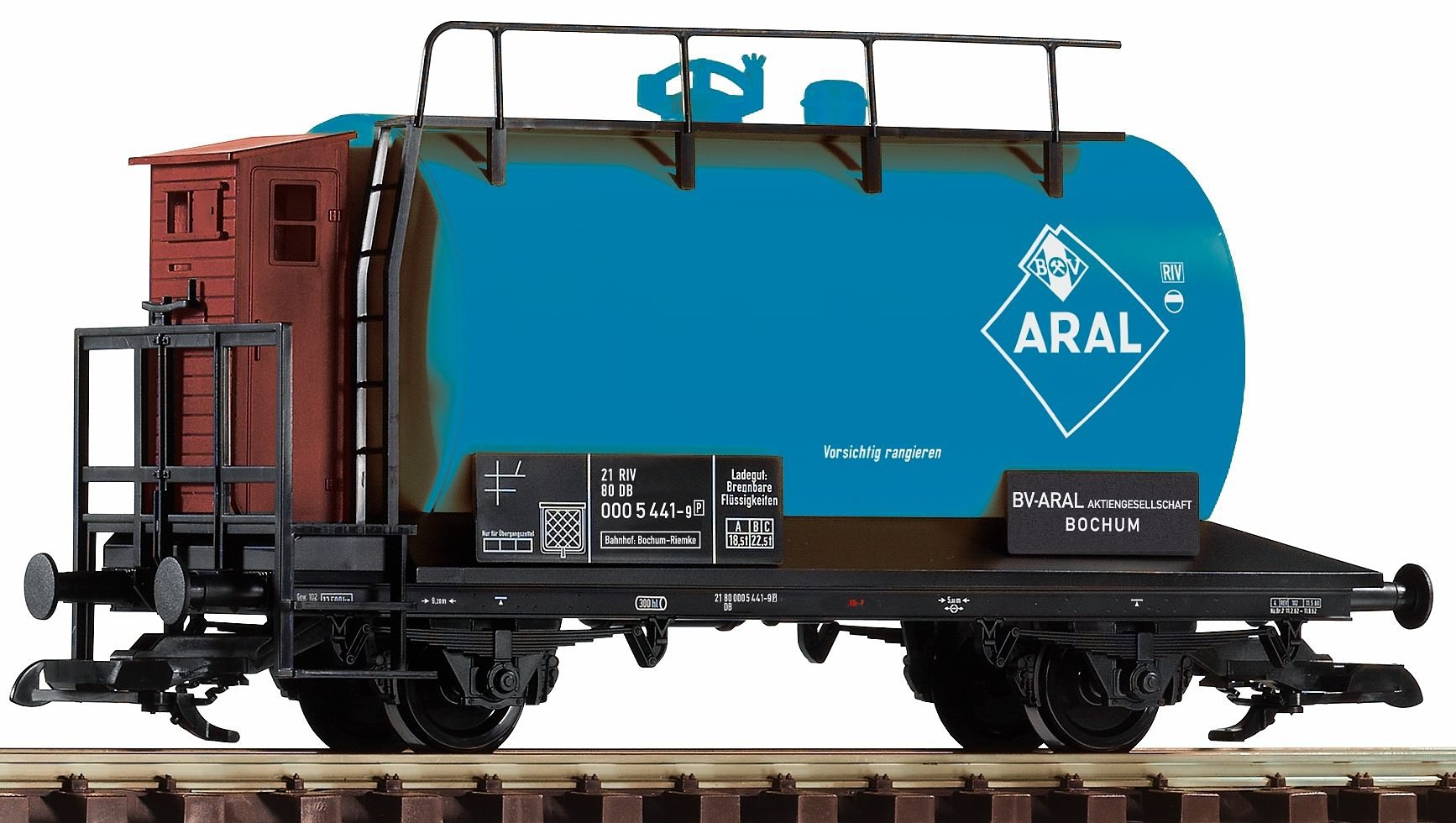 PIKO Güterwagen, Spur G, »Kesselwagen Aral mit Bremserhaus, DB - Gleichstrom«