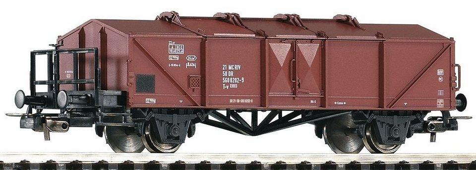 PIKO Güterwagen, Spur H0, »Klappdeckelwagen T-v 5600 mit Bremserbühne, DR - Gleichstrom« in braun