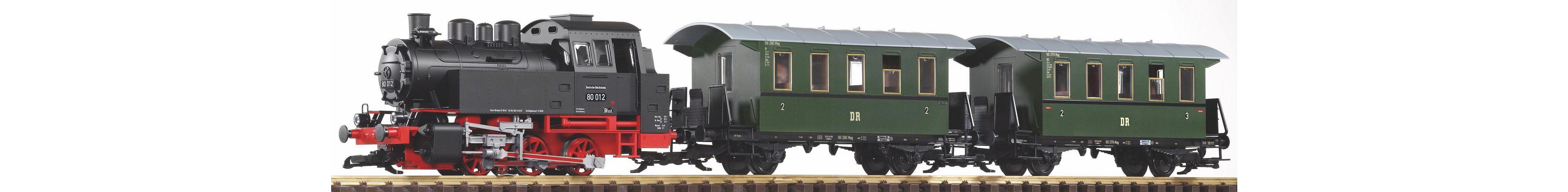 PIKO Modelleisenbahn, Spur G, »Startset Dampflok BR 80 und 2 Personenwagen, DR - Gleichstrom«