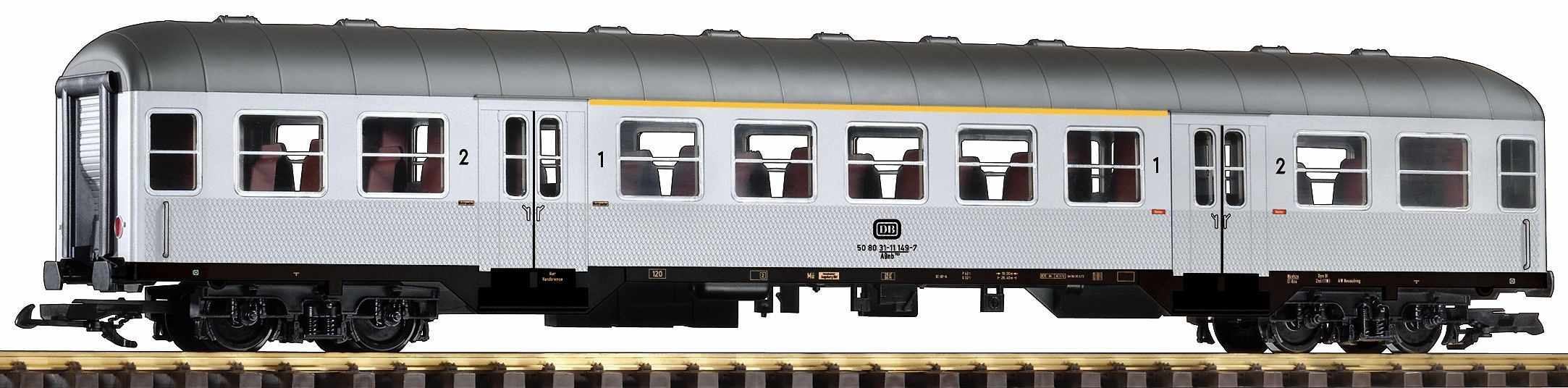 PIKO Personenwagen, Spur G, »Nahverkehrswagen ABnb 703 7./2. Klasse, Silberling, DB - Gleichstrom«