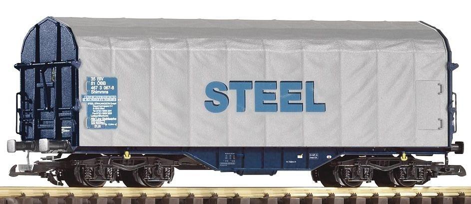 PIKO Güterwagen, Spur G, »Schiebeplanenwagen Shimmns-tu 718 Steel, ÖBB - Gleichstrom« in blau/grau