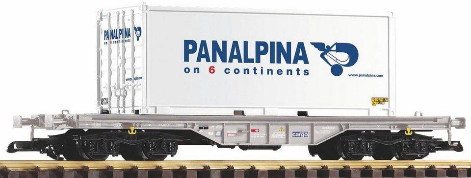 PIKO Güterwagen, Spur G, »Flachwagen mit Container Panalpina, SBB - Gleichstrom« in weiß