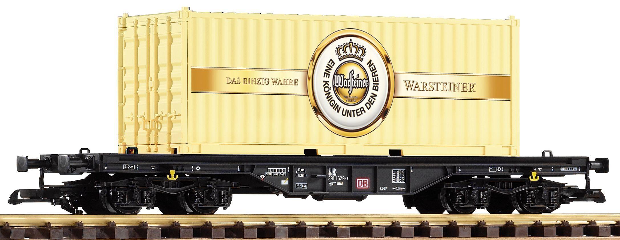 PIKO Güterwagen, Spur G, »Flachwagen mit Container Warsteiner, DB AG - Gleichstrom«