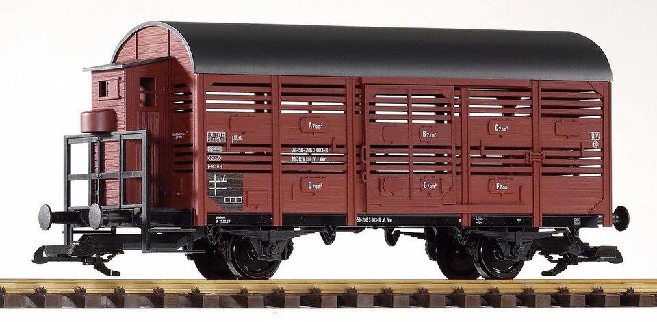 PIKO Güterwagen, Spur G, »Viehtransportwagen mit Bremserhaus, DR - Gleichstrom« in braun
