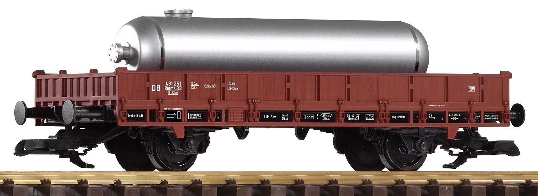 PIKO Güterwagen, Spur G, »Niederbordwagen beladen mit Tankbehälter, DB - Gleichstrom«