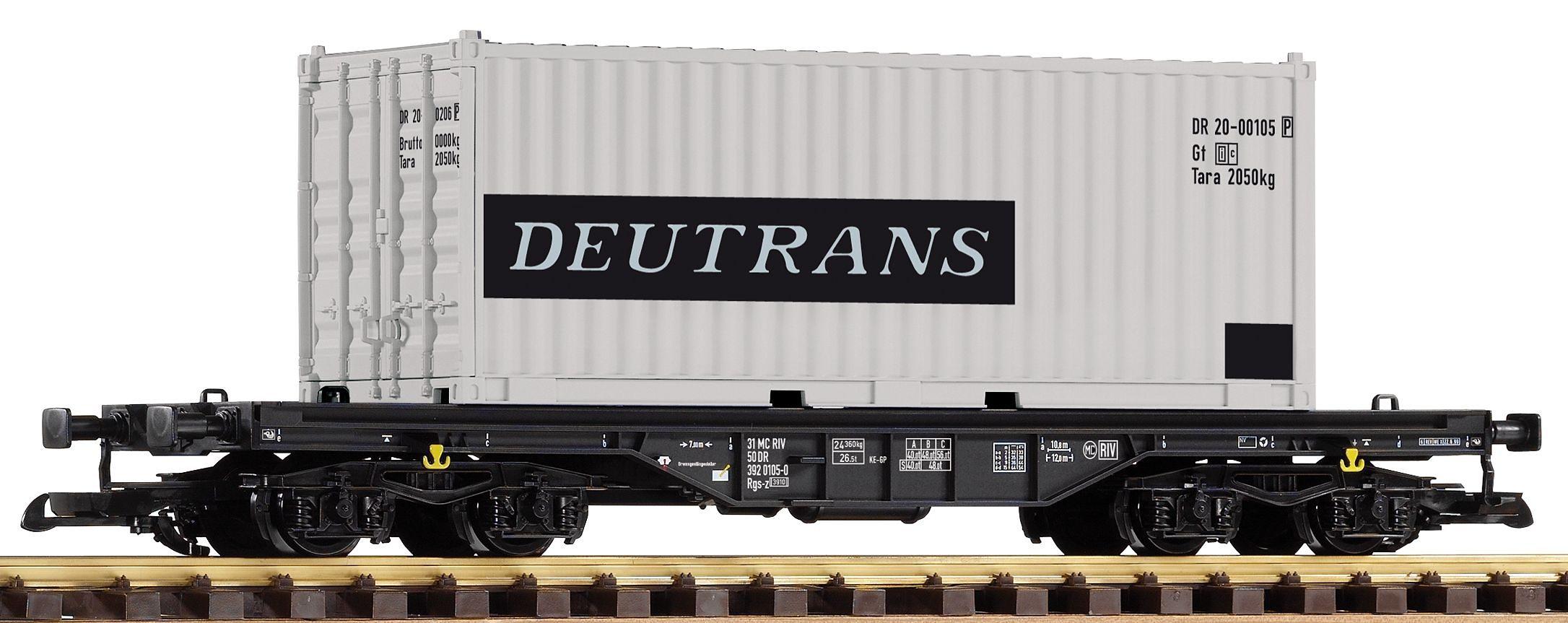 PIKO Güterwagen, Spur G, »Flachwagen mit Container Deutrans, DR - Gleichstrom«
