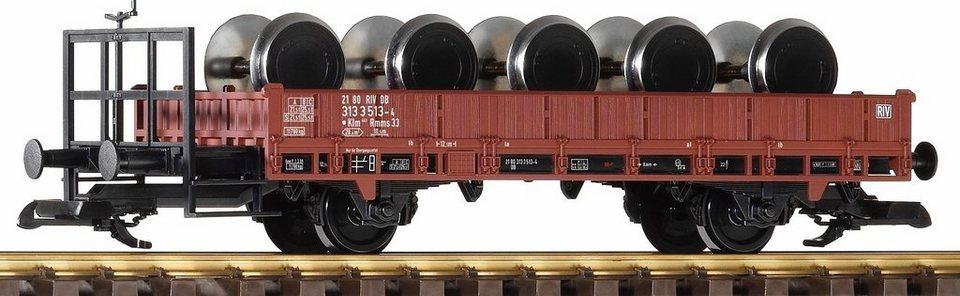 PIKO Güterwagen, Spur G, »Niederbordwagen beladen mit 5 Lokradsätzen, DB - Gleichstrom« in rot