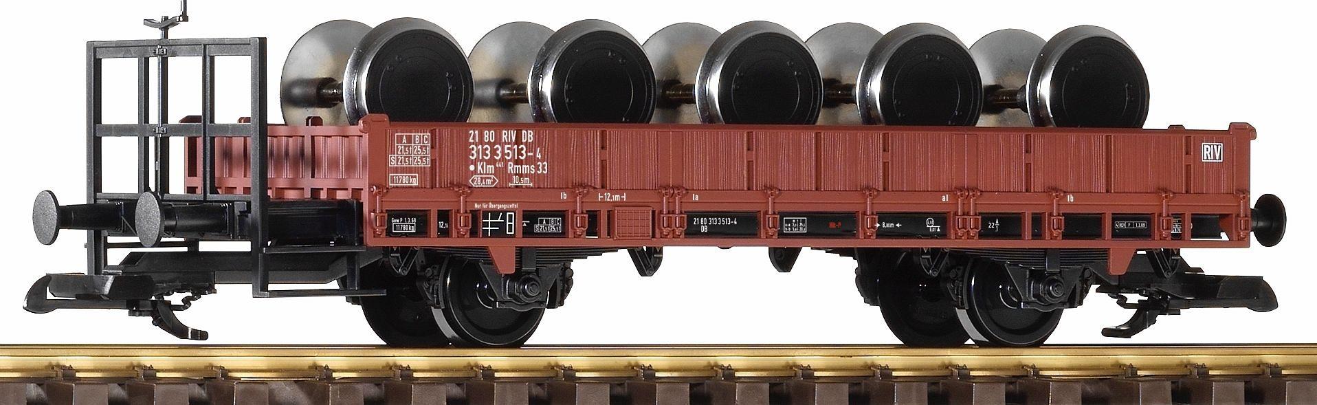 PIKO Güterwagen, Spur G, »Niederbordwagen beladen mit 5 Lokradsätzen, DB - Gleichstrom«