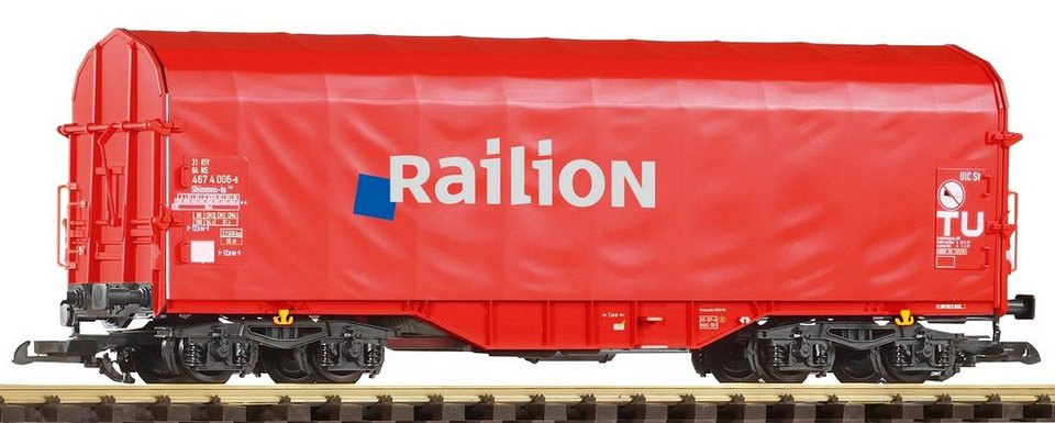 PIKO Güterwagen, »Schiebeplanwagen Shimmns Railion - Gleichstrom«, Spur G in rot