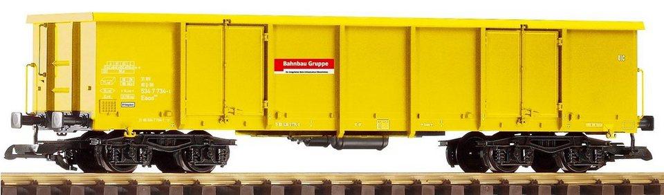 PIKO Güterwagen, Spur G, »Offener Drehgestellwagen Eaos, Bahnbaugruppe - Gleichstrom« in gelb
