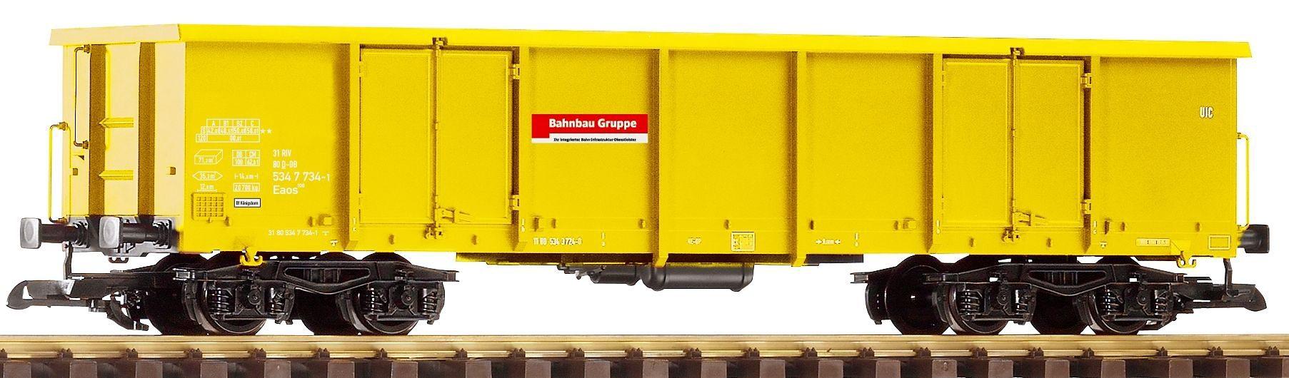 PIKO Güterwagen, Spur G, »Offener Drehgestellwagen Eaos, Bahnbaugruppe - Gleichstrom«