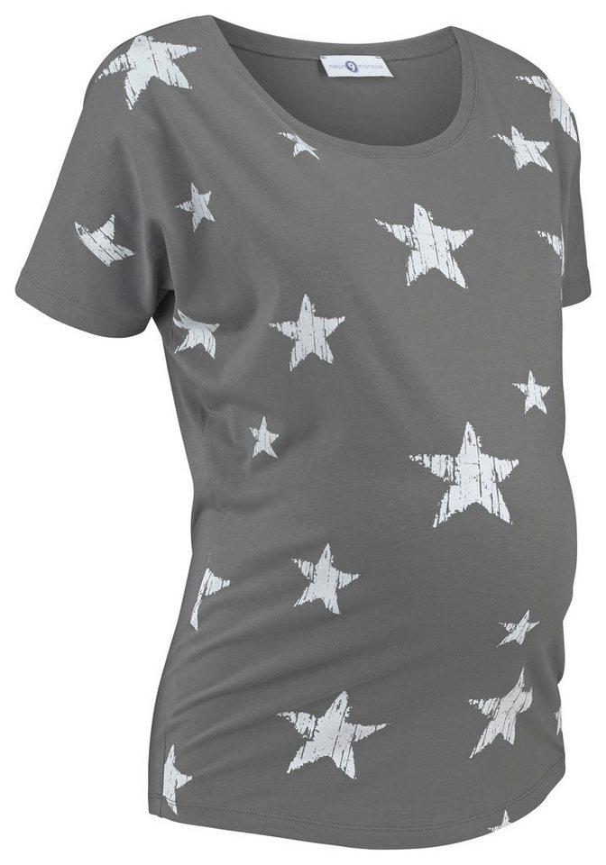 Neun Monate Umstandsshirt mit Sternendruck in bedruckt