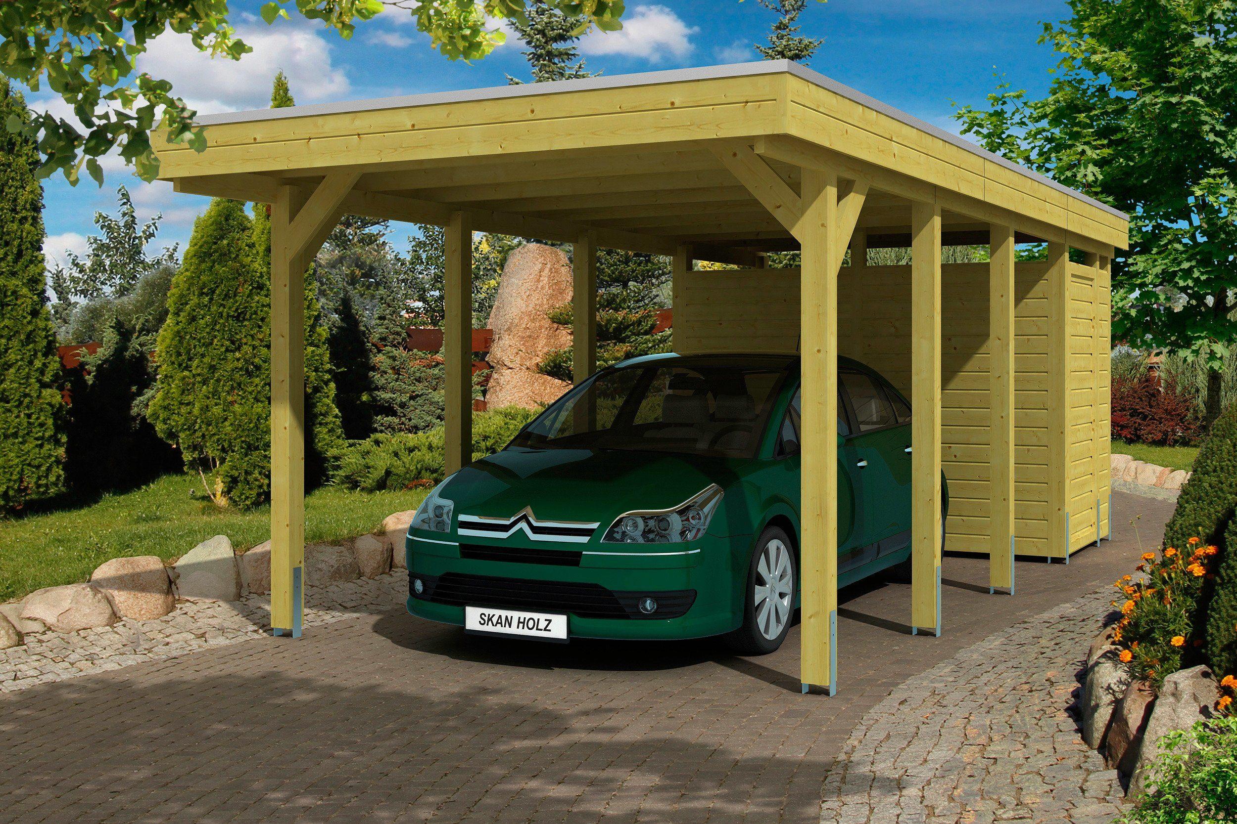 Skanholz Set: Einzelcarport »Friesland«, mit Abstellraum und Aluminium-Dachplatten