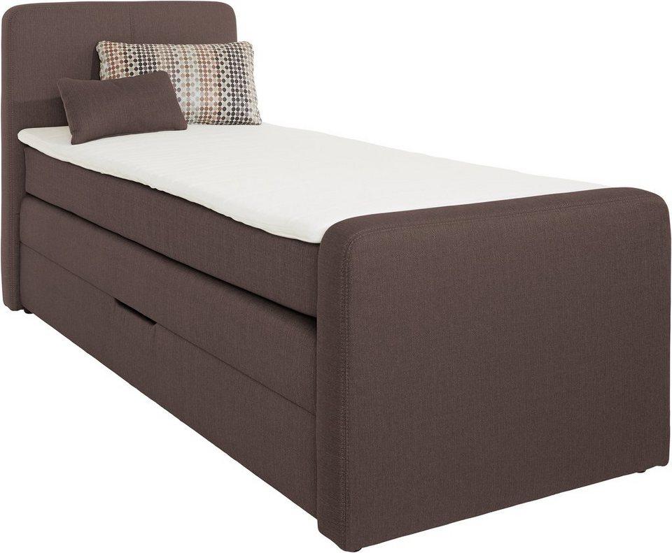 boxspringbett mit bettkasten inkl topper und kissen. Black Bedroom Furniture Sets. Home Design Ideas