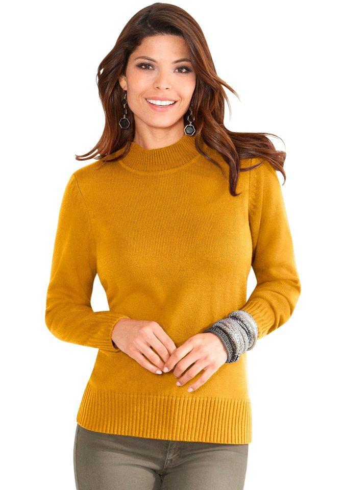 Classic Basics Pullover mit geripptem Stehkragen in curry
