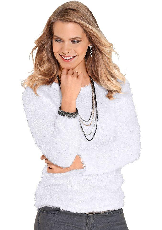 Classic Basics Pullover mit Rundhals-Ausschnitt in weiß